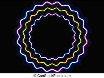 cercles, coloré, résumé, néon, incandescent, ondulé, fond