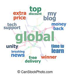 cercles, concept, mot, business, texte, collage., lignes, global., fond, nuage