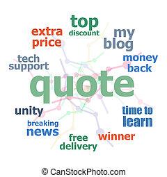 cercles, concept, mot, business, texte, collage., quote., fond, lignes, nuage