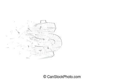 cercles, concept, polygone, argent, concept., wireframe, dollar, lines., illustration, connexion, triangle., vecteur, futuriste, fond, lumière, low-poly, moléculaire, résumé, structure, points
