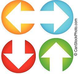 cercles, coupure, coloré, flèches, ensemble, left-right, up-down