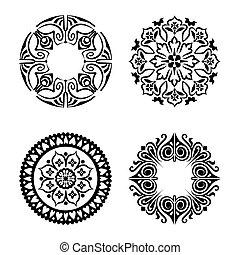 cercles, décoratif, ensemble, vecteur, ethnique
