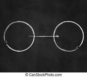 cercles, diagramme, tableau noir