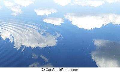 cercles, eau, long, couler, surface