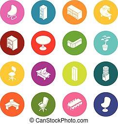 cercles, ensemble, bureau, coloré, icônes, vecteur, meubles