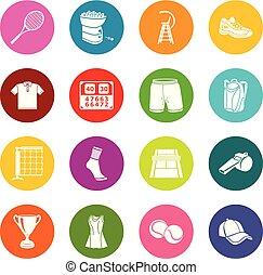 cercles, ensemble, coloré, icônes, tennis, vecteur