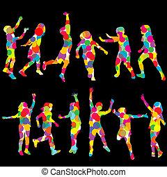 cercles, ensemble, coloré, silhouettes, fait, enfants