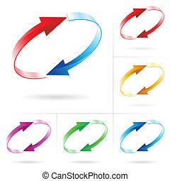 cercles, ensemble, flèche