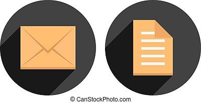 cercles, enveloppe, liste, long, ombre, chèque