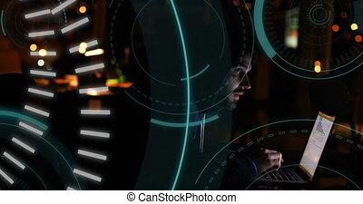 cercles, futuriste, pirate informatique, 5g, milieu, 4k, écrit