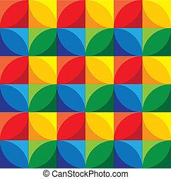 cercles, &, grap, -, seamless, vecteur, fond, géométrique, carrés