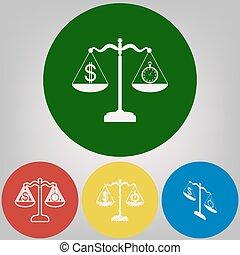cercles, gris, coloré, chronomètre, lumière, symbole, dollar, arrière-plan., 4, vector., styles, blanc, balances., icône