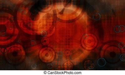cercles, gris, résumé, retro, fond, orange, animé, boucle, ...