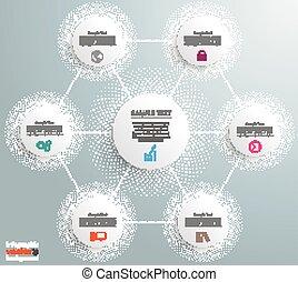 cercles, hexagone, réseaux, halftone, infographic