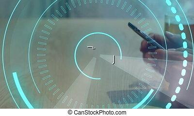 cercles, homme, futuriste, téléphone, mobile, 5g, utilisation, écrit, milieu