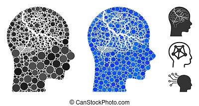 cercles, icône, cerveau, mosaïque, carcinome