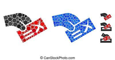 cercles, icône, négatif, vote, mosaïque