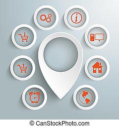 cercles, icônes, 8, marqueur, emplacement, blanc