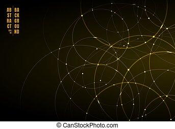 cercles, lumière or, résumé, néon, chevaucher, arrière-plan., noir