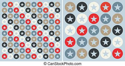 cercles, modèle, étoiles, fond