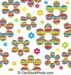 cercles, modèle, coloré, fleurs, seamless, fait