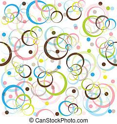 cercles, modèle, points, coloré, retro