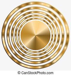 cercles, or, élégant, cadre, arrière-plan., noir, concentrique