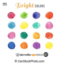 cercles, palette, 16, couleur, aquarelle, clair