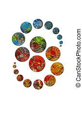 cercles, palette, danse, artiste