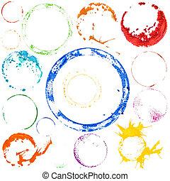 cercles, peinture, vecteur, multicolore