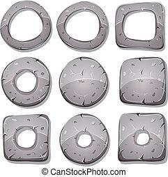 cercles, pierre, formes, anneaux, jeu, ui