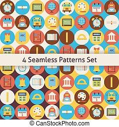 cercles, plat, école, ensemble, coloré, seamless, dos, quatre, motifs, vecteur
