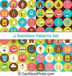 cercles, plat, ensemble, jardin, printemps, seamless, quatre, motifs