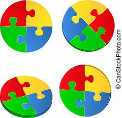 cercles, puzzle, vecteur