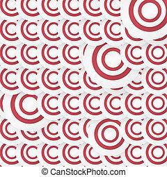 cercles, résumé, arrière-plan rouge
