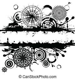 cercles, résumé, carrée, fond