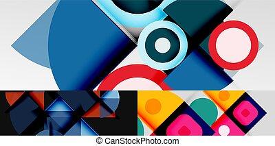 cercles, résumé, fait, minimaliste, lignes, géométrique, autre, triangles, éléments, arrière-plans, carrés, rectangles