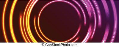 cercles, résumé, néon, clair, incandescent, fond