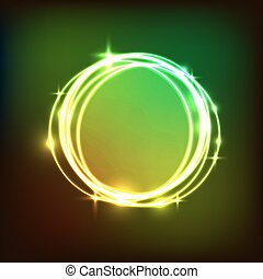 cercles, résumé, néon, coloré, fond