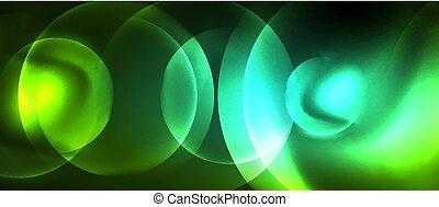 cercles, résumé, néon, incandescent, vecteur, fond