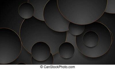 cercles, résumé, noir, technologie, bronze, géométrique, mouvement, fond