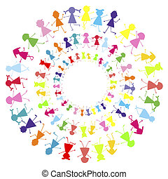 cercles, rester, enfants, fond