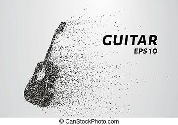cercles, silhouette, illustration., particles., guitare, vecteur, points., consiste