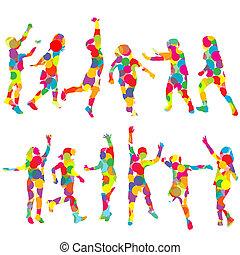 cercles, silhouettes, ensemble, coloré, enfants
