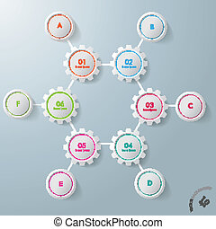 cercles, six, infographic, conception, engrenages, hexagone