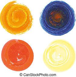 cercles, style, ensemble, entiers, 4, aquarelles
