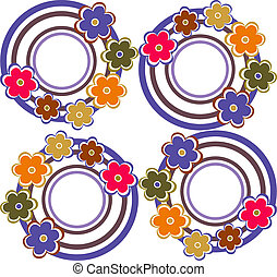 cercles, style, seamless, fond, retro