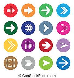 cercles, symboles, ensemble, flèche