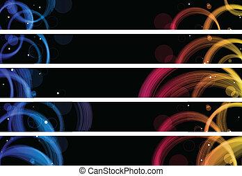 cercles, toile, coloré, résumé, banners., 728x90, px, taille