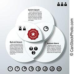 cercles, trois, chevaucher, infographics
